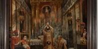 Oleo sobre tela de Martín L. Boneo (1829-1915) que representa una ceremonia religiosa en la Iglesia de la Piedad. Se puede observar el retrato de Rosa