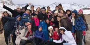El grupo de jóvenes en su visita a Las Leñas.