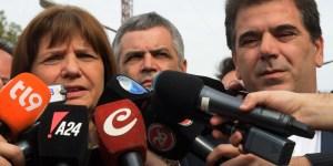 La ministra de Seguridad, Patricia Bullrich, y el ministro de Seguridad bonaerense, Cristian Ritondo, ofrecen una conferencia de prensa en el Centro d