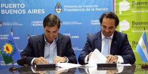El ministro de Producción de la Provincia de Buenos Aires, Javier Tizado, junto al interventor del Puerto Buenos Aires, Gonzalo Mórtola.