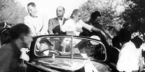 10 de marzo de 1950. El matrimonio presidencial durante una visita a la provincia de Mendoza. CREDITO: Archivo Patrimonial de la Provincia de Mendoza.